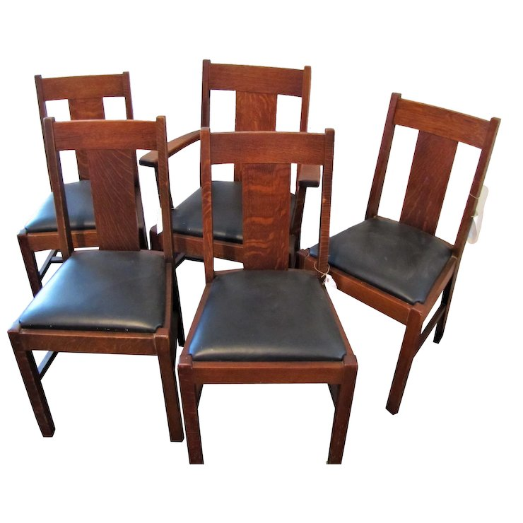 Antique Set Of 5 Lifetime Arts Crafts Dining Chairs W4439