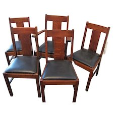 Antique Set of 5 Lifetime Arts & Crafts Dining Chairs  w4439