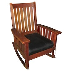 Great Antique L&jG Stickley Arm Rocking Chair with Slats  w4451