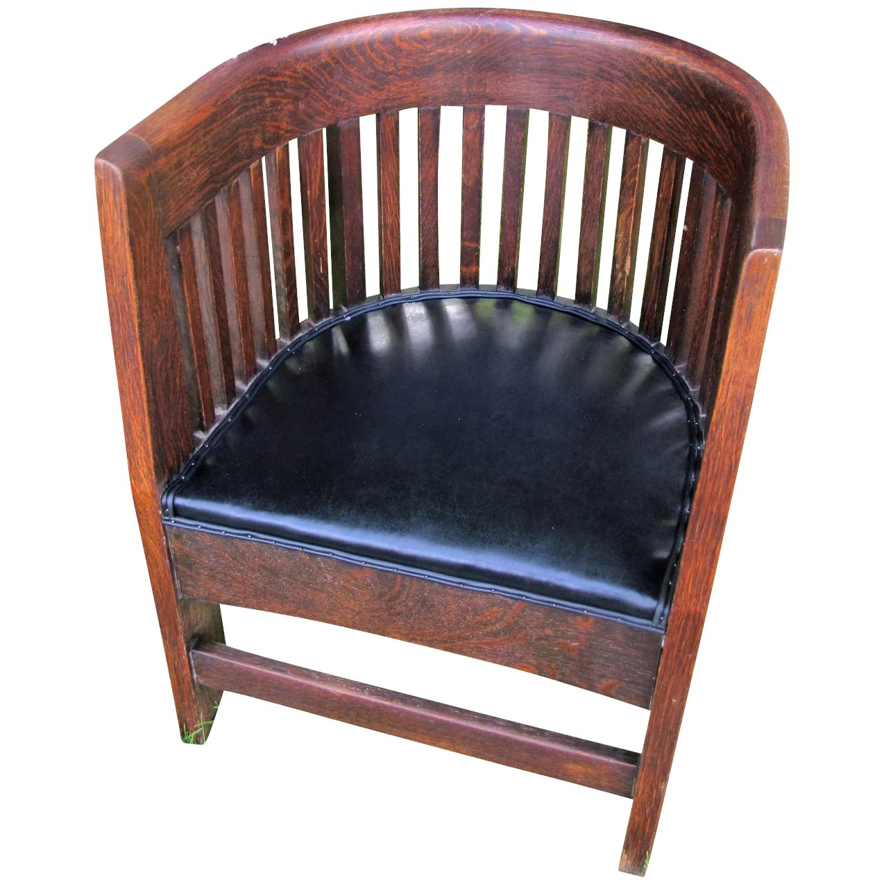 Click to expand - Antique Arts & Crafts Plail Brothers Barrel Chair W4784b : Antique
