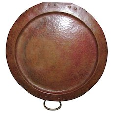 Antique Gustav Stickley Round Hammered Copper Tray  w4785