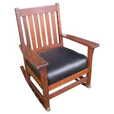 Superb Antique L&jG Stickley Arm Rocking Chair w4822
