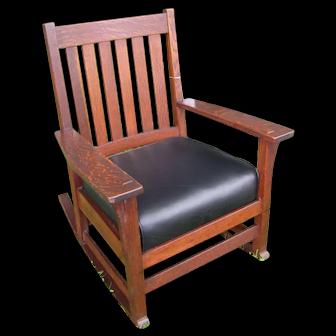 Superb Antique L&jG Stickley Arm Rocking Chair w4822