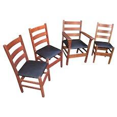 Antique Gustav Stickley Set of 4 Chairs  w4855