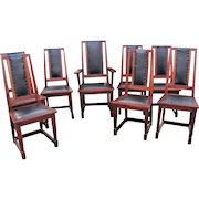Rare Antique Stickley Brother Set of 8 High Back Chairs with Shoe Feet  w4909