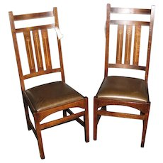 Pair of High Back Reproduction Stickley Hudi Side Chairs with Inlay  w4918