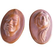 Antique Van Briggle Pair of Pottery Indian Heads  w4927