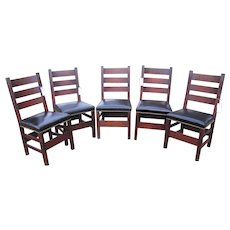 Antique Set of Five Gustav Stickley Dining Chairs  w4973