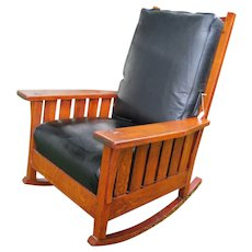 Antique L&jG Stickley Large Arm Rocking Chair with Slats  w4993