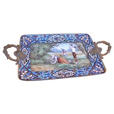 SUPERB Antique Painting on Porcelain and Brass Tray  w4998