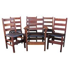 Antique Set of 6 Gustav Stickley Dining Chairs  w5000