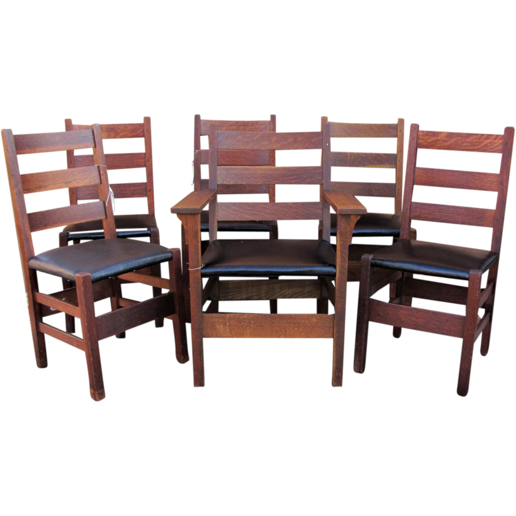 c93336cf09 Antique Set of 6 Gustav Stickley Dining Chairs w5000 : Antique Mission  Furniture | Ruby Lane