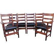Antique Set of Six 4 Gustav Stickley and 2 L&jG Stickley Dining Chairs w6000