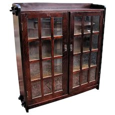 Antique Two Door L&jG Stickley Bookcase w5010
