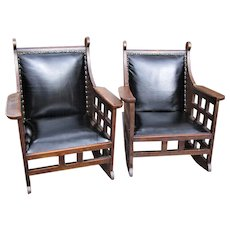 Antique Superb & Rare Beautiful Pair of Karpin Rocking Chairs with Cutouts  w5023