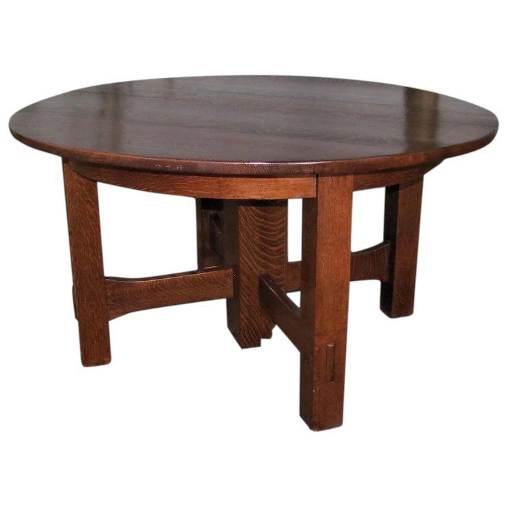 Antique Gustav Stickley Split Extension 5 Leg Dining Table W5041