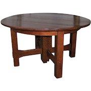 Antique Gustav Stickley Split Extension 5 Leg Dining Table  w5041