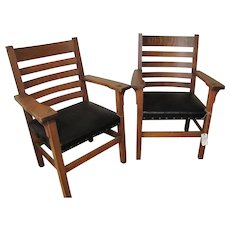 Superb Pair of Antique Arts & Crafts Armchairs  w5054
