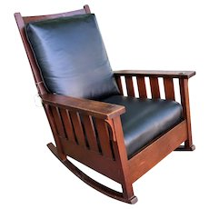 Superb Antique Gustav Stickley Large Arm Rocking Chair with Slats w5238