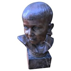 Antique Roman Bronze Works NY Bronze Boy Bust Sculpted by C. Luini  w5082