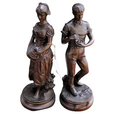 Pair of Antique Bronze Sculptures w5089