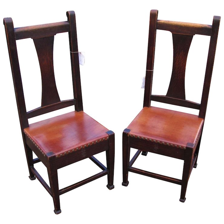 Superb Pair of Antique Roycroft Chairs w5097 - Superb Pair Of Antique Roycroft Chairs W5097 : Antique Mission