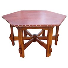 Superb Antique L&jG Stickley Hexagon Table  w5098