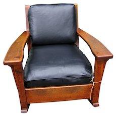 Superb Antique Arts & Crafts Limbert Large Arm Rocking Chair (Cube Form)  w5125