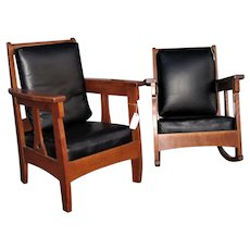 Superb Antique Limbert Pair of Chairs  w5128  w5129