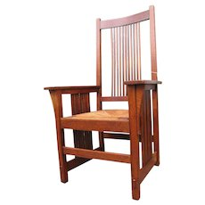 Antique Rare Arts & Crafts Gustav Stickley Large Spindle Armchair w5133