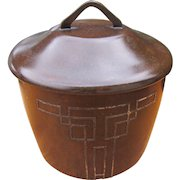 "Antique Arts & Crafts ""Cross London"" Hammered Copper Humidor with Sterling Silver Inlay  w5147"