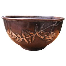 Antique Arts & Crafts Hammered Copper Bowl with Silver Inlay  w5148  This item sold in our shop and no longer for sale.