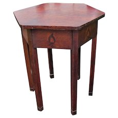 Superb & Rare Early Stickley Brothers Hexagon Top Table with Inlays  w5174