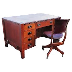Superb Antique Early Gustav Leather Top Office Desk & Swivel Chair w5237 (Original Tacks & Leather Top)