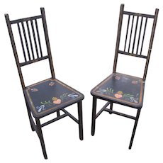 Pair of Antique Arts & Crafts Side Chairs with Folk Art Painting  w5273