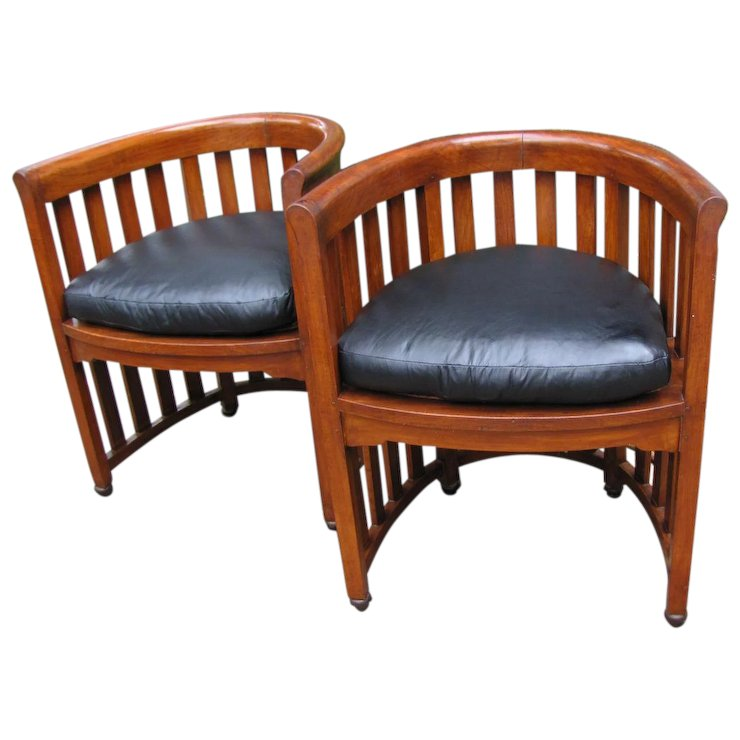 Superb Pair Of Antique Josef Hoffmann Barrel Chairs W5303