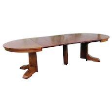 Antique Gustav Stickley Pedestal Arts & Crafts Dining Table  w5328