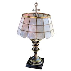 Antique Arts & Crafts Table Lamp with Mica Shade  w5349