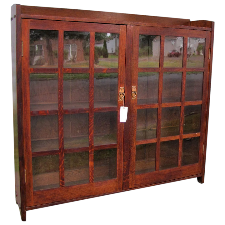 official photos a4061 89438 Good Antique Gustav Stickley Two Door Bookcase w5350