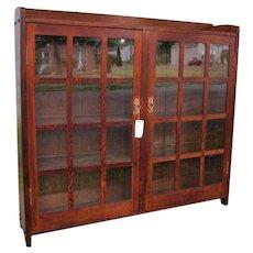 Good Antique Gustav Stickley Two Door Bookcase  w5350