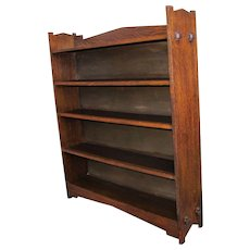 Antique Arts & Crafts Wide Open Front Bookcase w5383