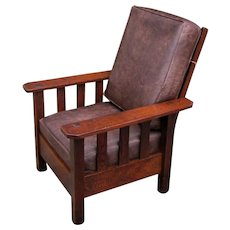 Antique Arts & Crafts Fixed Back Armchair with Slats  w5392