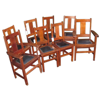 Superb Antique Set of 8 Limbert Dining Chairs  w5399 (2 Armchairs & 6 Side Chairs)