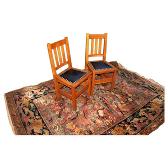 Superb & Rare Antique Pair of Stickley Brothers Side Chairs  w5414