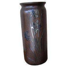 Superb Antique Heintz Bronze Vase with Sterling Silver Overlay  w5427