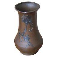 Superb Antique Heintz Bronze Vase with Sterling Silver Overlay w5430
