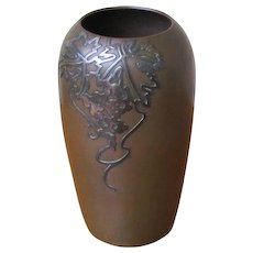Superb Antique Heintz Bronze Vase with Sterling Silver Overlay w5434