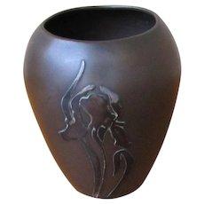 Superb Antique Heintz Bronze Vase with Sterling Silver Overlay w5435