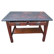 Antique Early Good Gustav Stickley Lib Table with Original Leather Top w5456