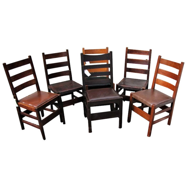 Antique Group Of Six Gustav Stickley Chairs W6666